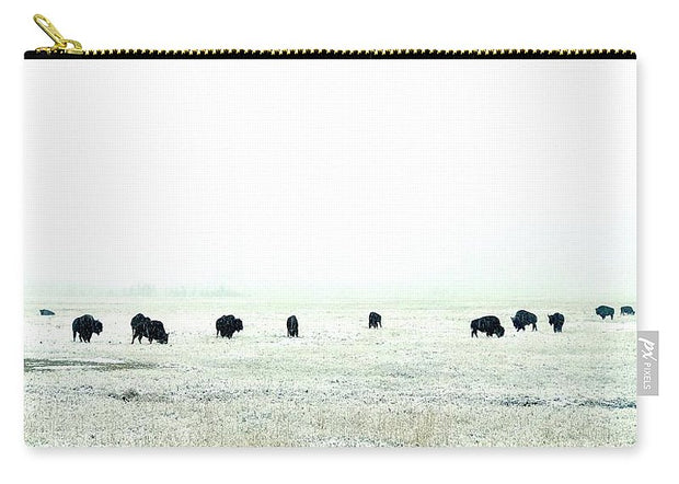 Snowy Bison Morning - Carry-All Pouch