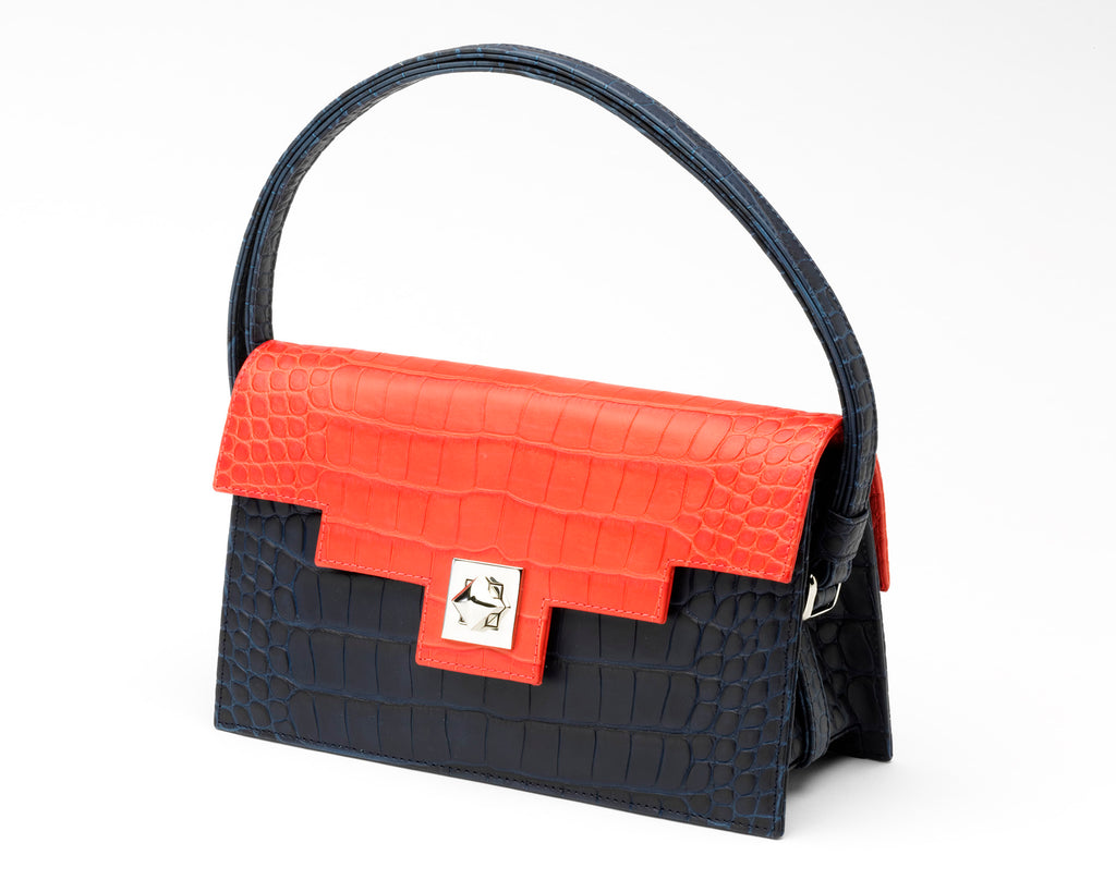Quoin Handbag - Navy Croc with Red Flap