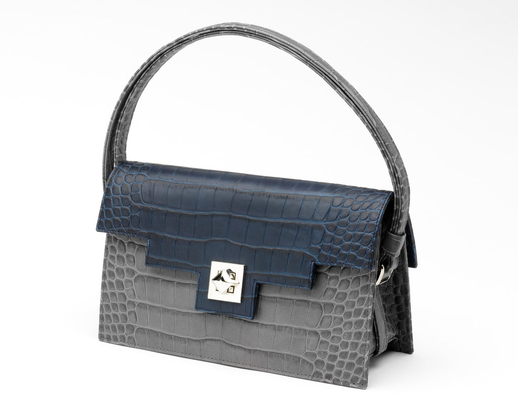 Quoin Handbag - Grey Croc with Navy Flap