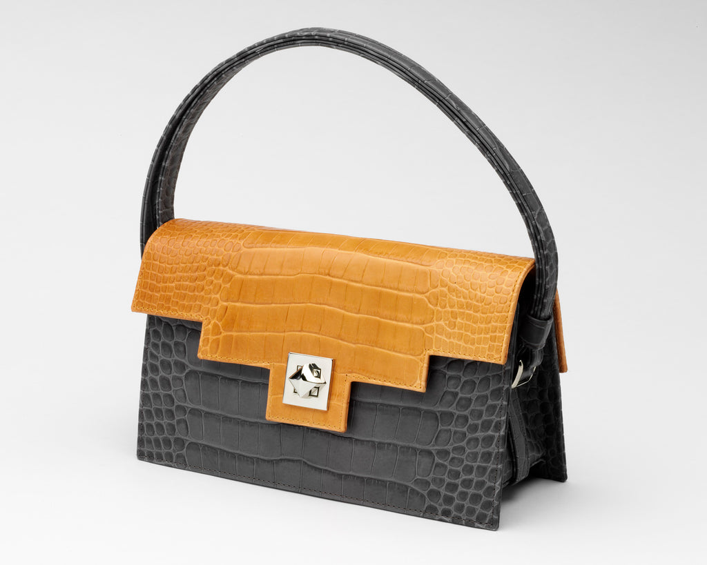 Quoin Handbag - Grey Croc with Tan Flap