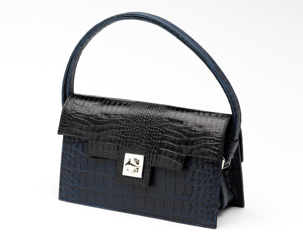 Quoin Handbag - Navy Croc with Black Flap