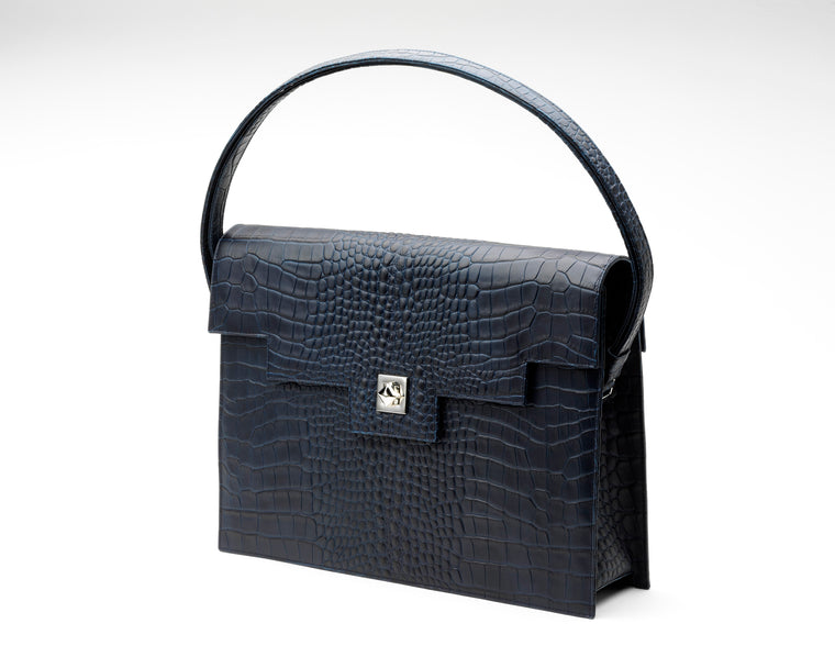 Quoin Briefcase - Navy Croc