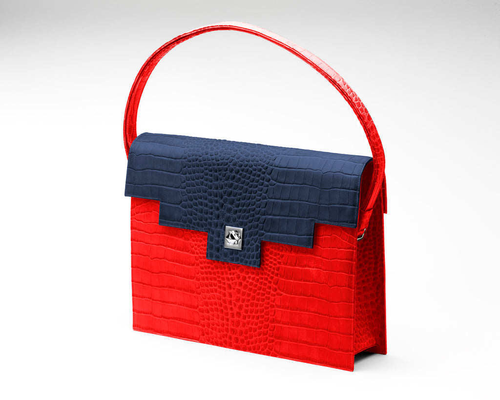 Quoin Briefcase - Red Croc with Navy Flap