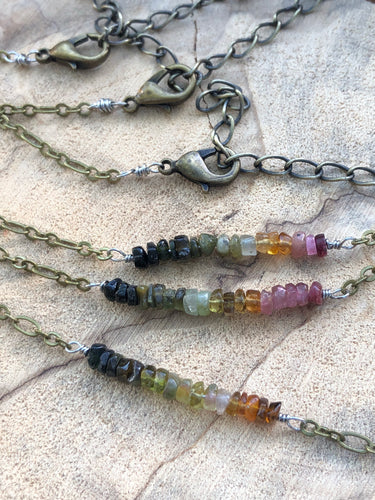 Rainbow Tourmaline Bar Necklace