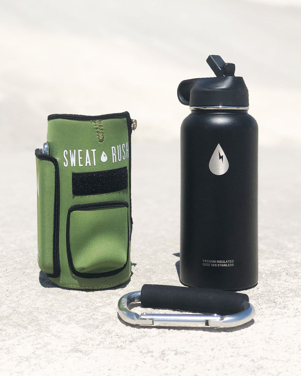 The Rushpack Bottle + Sleeve in OD Green (32oz)
