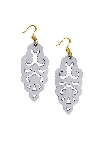 Filigree Earrings - Metallic Antique Silver - Large