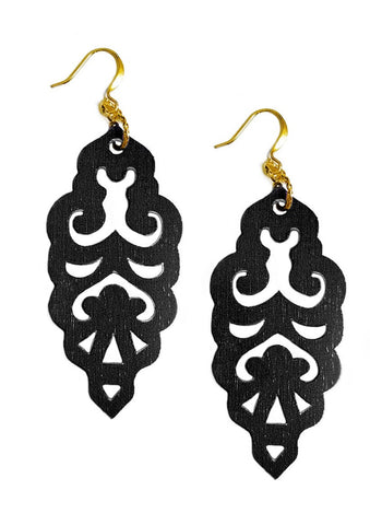 Filigree Earrings - Matte Black - Large