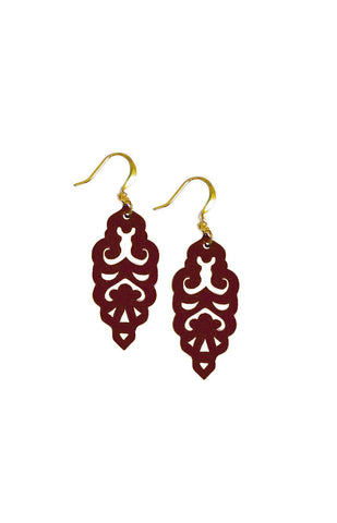 Filigree Earrings - Matte Dusty Cedar - Mini