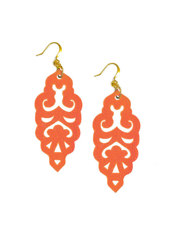 Filigree Earrings - Metallic Phoenix Orange - Large