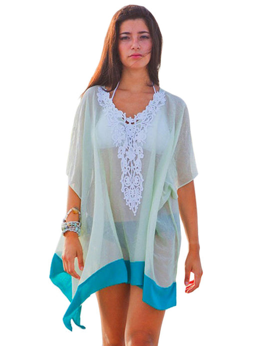 Embroidered V Neck Tulle Beach Cover-up