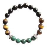 Focus - Black Onyx, Malachite & Tiger's Eye Sterling Silver Bracelet
