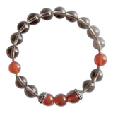 Healing of Depression - Genuine smoky Quartz & Carnelian Sterling Silver Bracelet