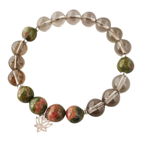 I Am Emotionally Balanced & Grounded - Unakite and smoky Quartz Sterling Silver Bracelet