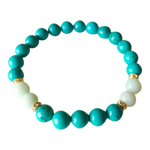 Manifest & Good Fortune - Amazonite & Chinese Turquoise Gold Plated Bracelet