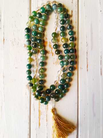 I Am Balanced and One with Nature - 108 Mala Bead Necklace - A Peace of Mind Jewelry & Boutique