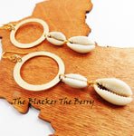 Cowrie Shell Gold Tone Long Dangle Women Fashion Jewelry