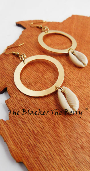 Cowrie Earrings Gold Tone Dangle Fashion Jewelry Women