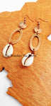 Copper Earrings Ethnic African Cowrie Shell Jewelry
