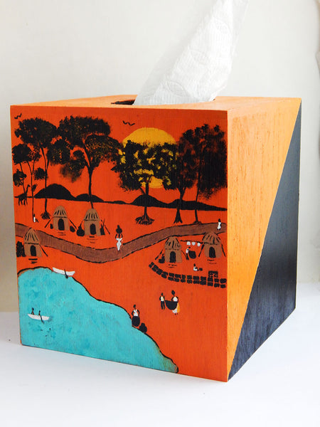African  Village Tissue Box Cover Wooden  Home Decor