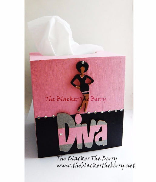 Diva Tissue Box Cover Diva Pink Black Wooden Home Decor Afrocentric Hand Painted