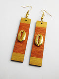 Gold Cowrie Earrings Wooden Ethnic Long Jewelry