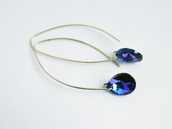 Blue Earrings Purple Heliotrope Jewelry Mothers Day Gift Earrings Pear Jewelry Gift for Her Sterling Silver Arch Dangle