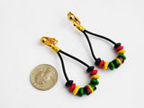Rasta Earrings Leather Beaded Clip On Non Pierced