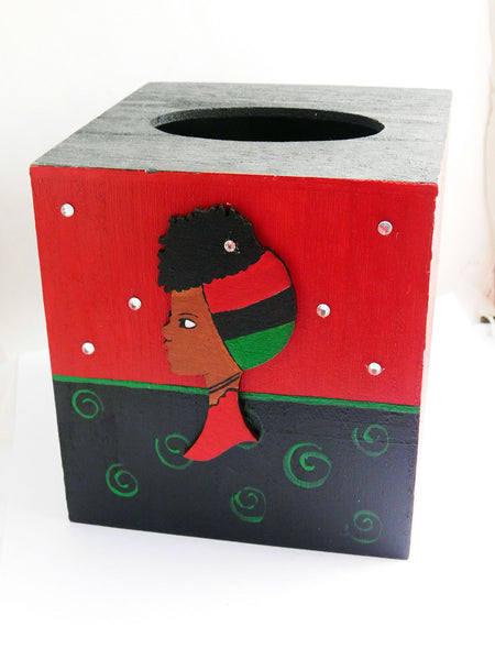RBG Wood Tissue Cover Han Painted Afrocentric African Accessories Home Decor Gift Ideas