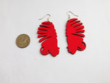 African Earrings Red Silhouette Ethnic Jewelry