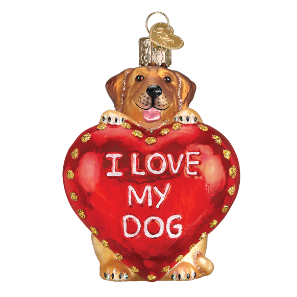 I Love My Dog Heart Ornament