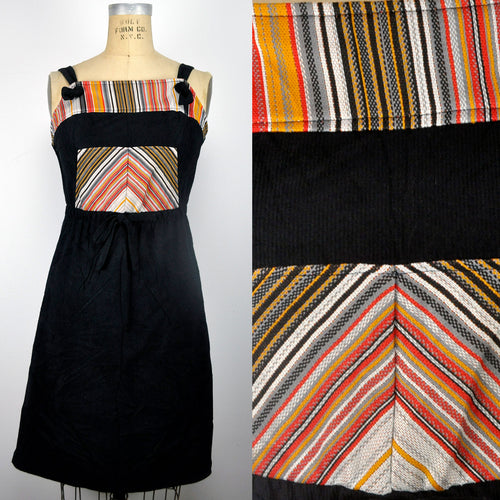 Vintage Black Corduroy Print Chevron Boho Festival Hippie Dress