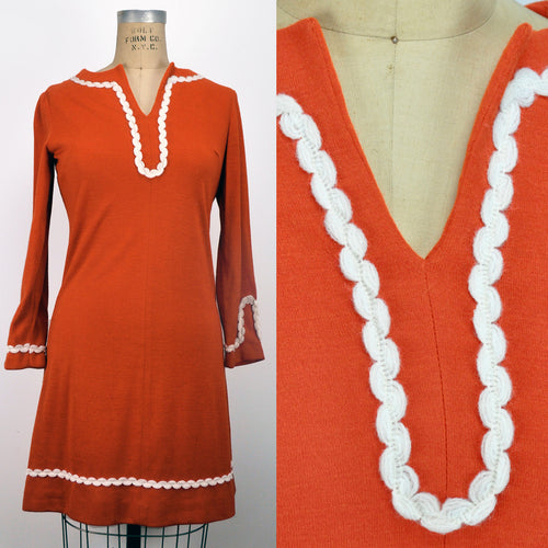 Vintage Scalloped White Trim Orange Wool Dress Flared Arms