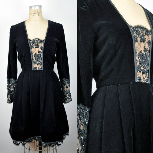 Vintage Lace Sequin Bodice Black Velvet Designer Party Dress by Stanley Platos - Martin Ross