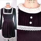Vintage Lace Bib Wine Colored Burgundy Plush Velvet Party Lolita Mini Dress