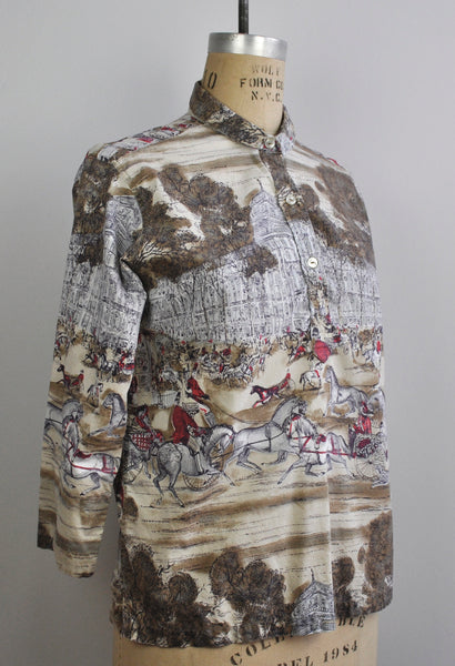 Vintage Historical Scene Horses Architecture Mural Blouse