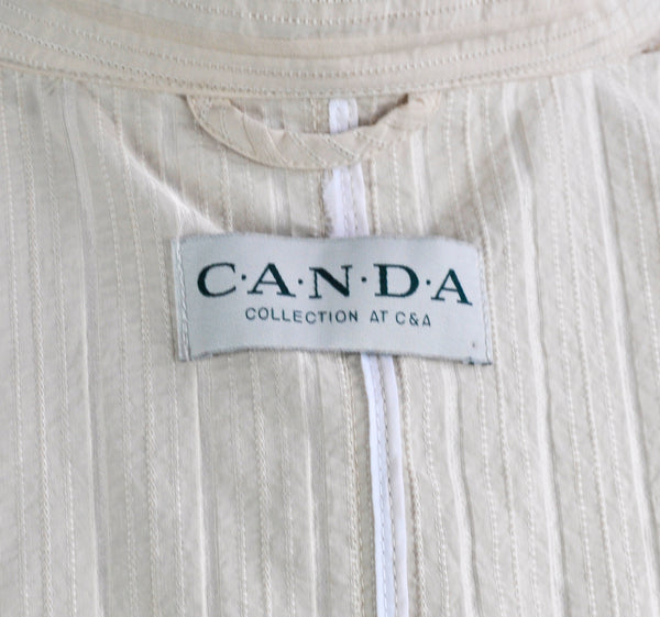 Vintage 90s Canda for C&A Nude Striped Jacket Metallic Buttons