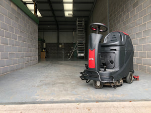 Viper ride on scrubber dryer in action again...