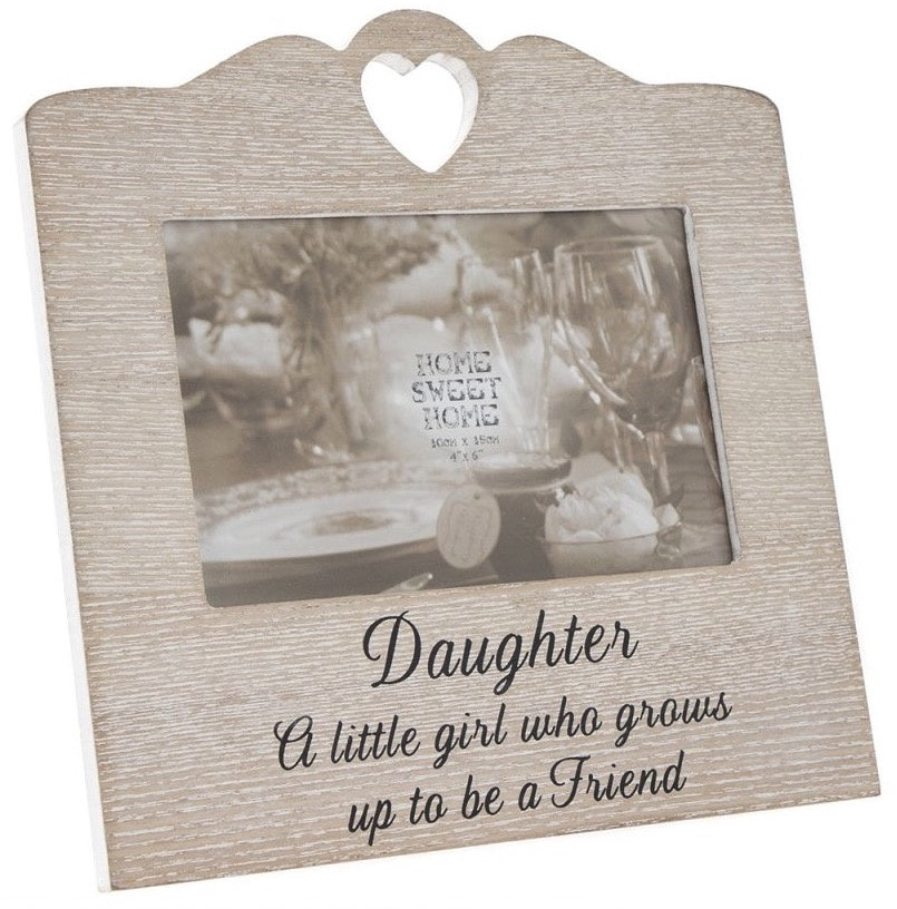 Wooden Sentiments Photo Frame with Heart Design - Daughter