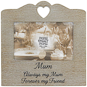Wooden Sentiments Photo Frame with Heart Design - Mum