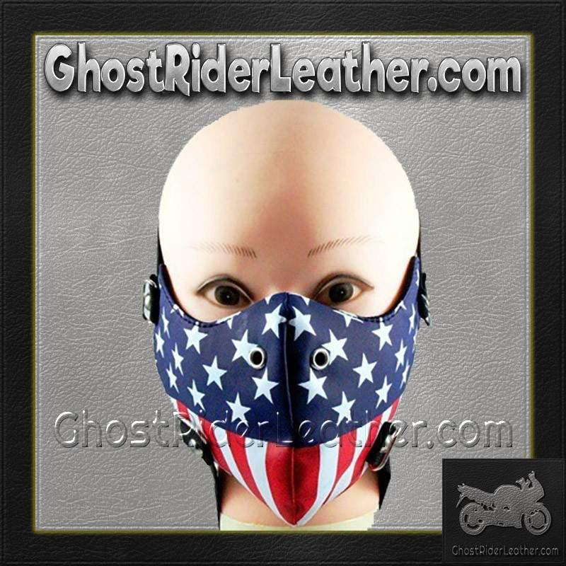 American Flag Half Face Mask in Pleather / SKU GRL-FMW49-HI-face mask-Ghost Rider Leather