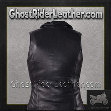 Classic Style Ladies Leather Vest with Zipper Front Closure / SKU GRL-LV444-DL-Ladies Vest-Ghost Rider Leather