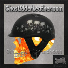 DOT Vented Skull Pile Flat Black Shorty Motorcycle Helmet / SKU GRL-1VSP-HI-dot motorcycle helmet-Ghost Rider Leather