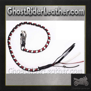 Get Back Whip in White Red and Black Leather / SKU GRL-GBW13-DL-get back whip-Ghost Rider Leather