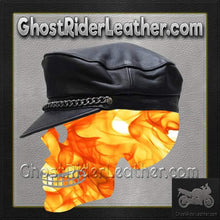 Leather Cap with Chain / SKU GRL-AC008-DL-leather chain cap-Ghost Rider Leather