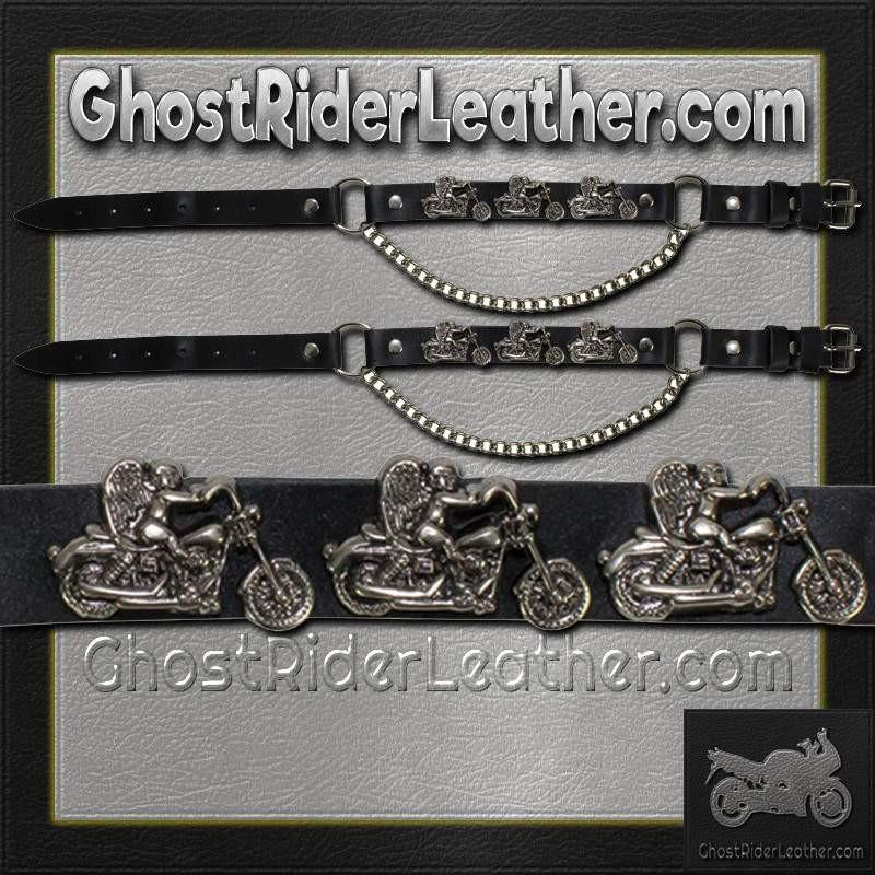 Pair of Biker Boot Chains - Motorcycle Angel - SKU GRL-BC1-DL-biker boot chains-Ghost Rider Leather