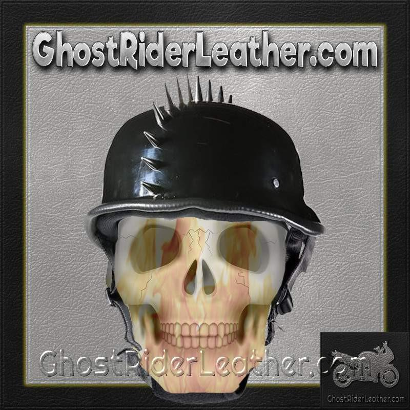 Spiked German Novelty Motorcycle Helmet in Gloss Black / SKU GRL-H402-02-DL-novelty motorcycle helmet-Ghost Rider Leather