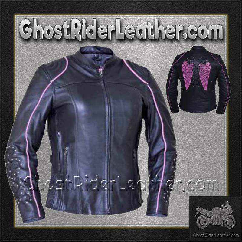 Ladies Black With Pink Trim Leather Jacket with Tribal Angel Wings and Studs / SKU GRL-6824.24-UN-leather motorcycle jacket-Ghost Rider Leather