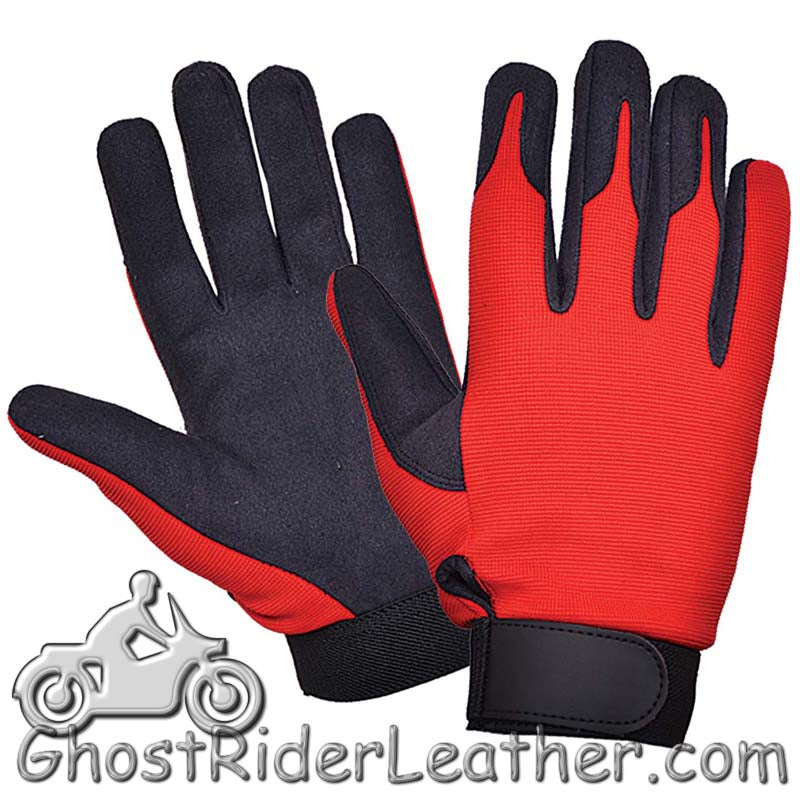 Red Orange and Black Textile Mechanics Gloves - SKU GRL-8115.00-UN-mechanics gloves-Ghost Rider Leather