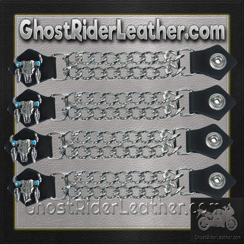 Set of Four Steer Skull Vest Extenders with Chrome Chain / SKU GRL-AC1047-DL-vest extender-Ghost Rider Leather