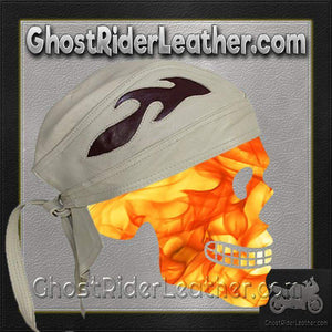 Beige Leather Skull Cap with Brown Flames / SKU GRL-AC7-BEIGE-DL-leather skull cap-Ghost Rider Leather